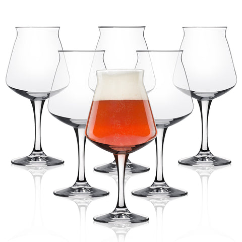 Rastal Teku Tulip Glass Beer - Nucleated Pint Craft Beer Glass for Better Head Retention, Aroma & Flavor- Italian Made 14.2 oz for Enhanced Beer Drinking Bliss- Stemmed Beer Glass - Set of 6 Pack