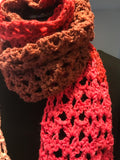 Handmade crocheted scarf with Pinks and browns
