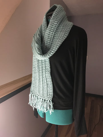 Handmade Crocheted Scarf Foam Green