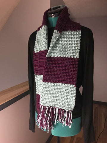 Handmade Crocheted Scarf Mauve & Green