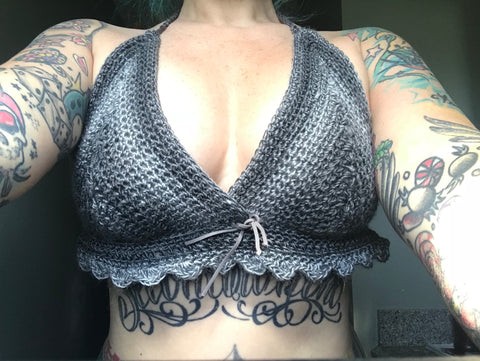 Gray toned bikini style crocheted top with suede bow