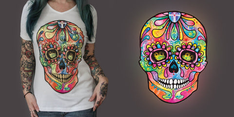 Women's Sugar Skull Printed T-Shirt