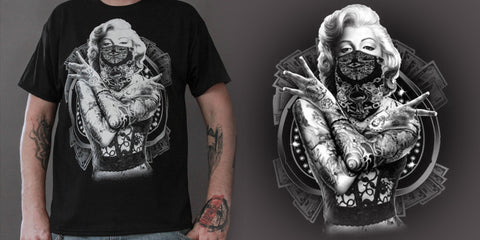 Mens Tattoo'd Gangster Marilyn T-shirt