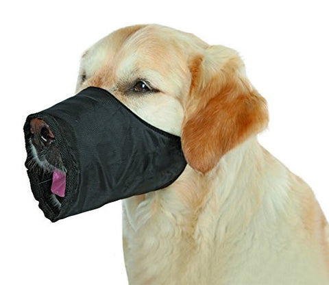 ADJUSTABLE NYLON DOG MUZZLE IN BLACK, MEDIUM