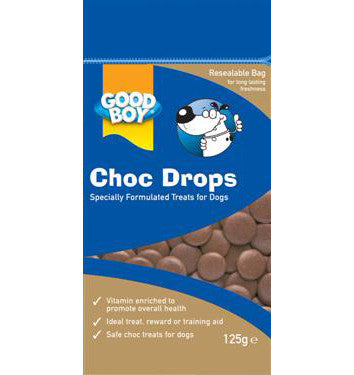 GOOD BOY CHOC DROPS 125GM POUCH PACK