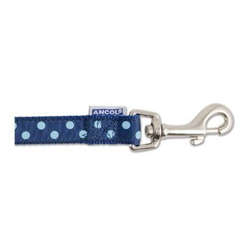 ANCOL POLKA DOT LEAD 19MMX1M BLUE