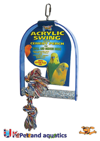LB ACRYLIC SWING WITH CEMENT PERCH
