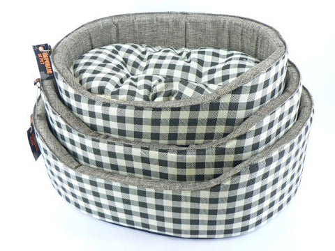 Athenia Black Checked Dog Bed with Reversible fleece cushion 20""