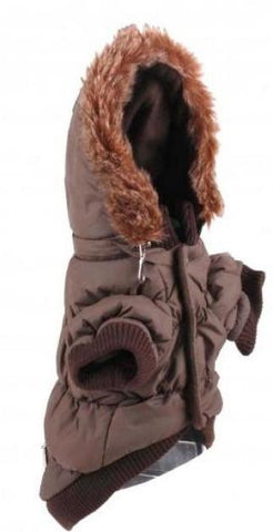 Brown Quilted Jacket with Fur Hood