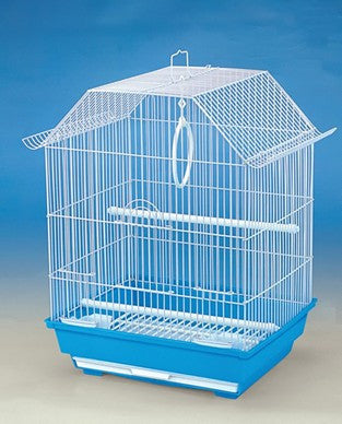 BIRD CAGE WHITE & BLUE BASE 47X34X28