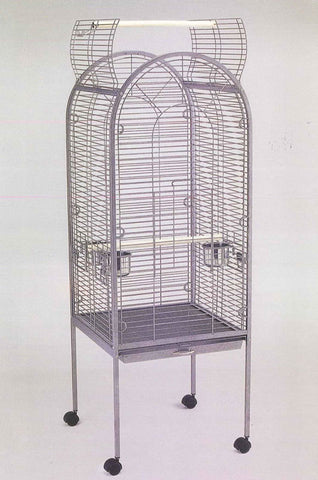 ANTIQUE SILVER PARROT CAGE 22X22X62