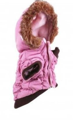Pink Quilted Jacket with Fur Hood