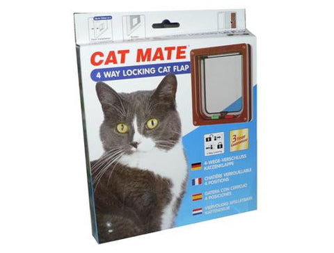 PETMATE 4-WAY LOCKING CAT FLAP BROWN