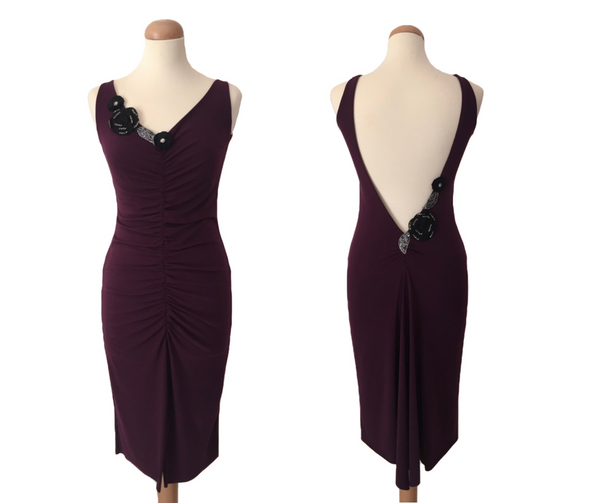 open back tango dress - eggplant