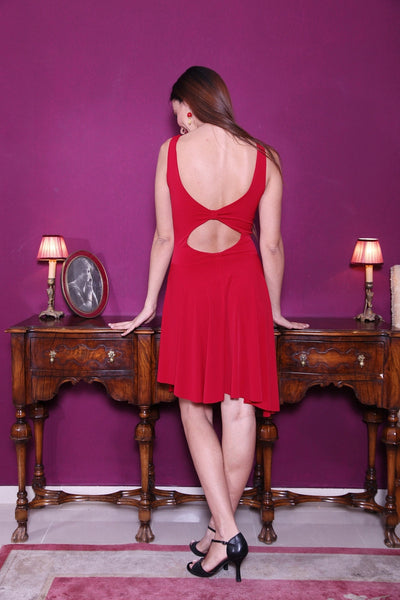conDiva red fit-and-flare tango dress