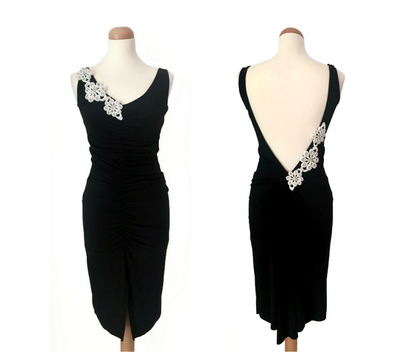 open back tango dress - black
