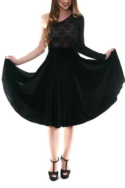 black velvet flowing skirt by conDiva