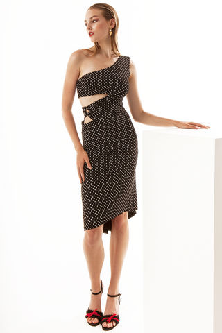 One-shoulder Polka Dot Dress With Cut-outs