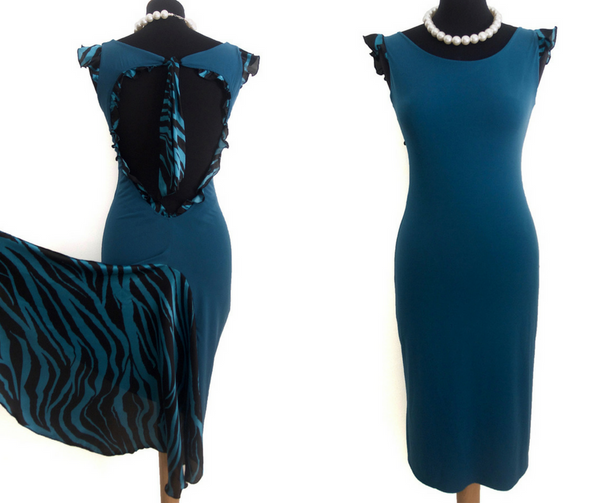 blue tango dress with fishtail