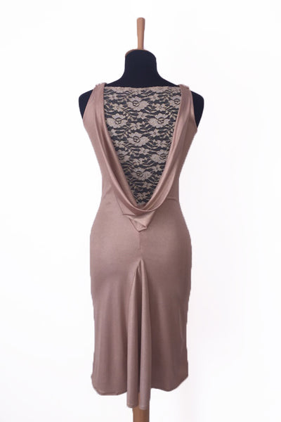 golden champagn tango dress with lace back