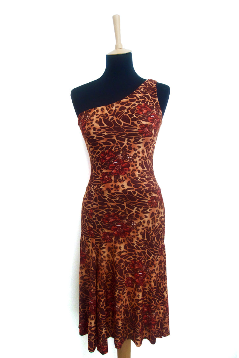 conDiva Safari-print One-shoulder Tango Dress