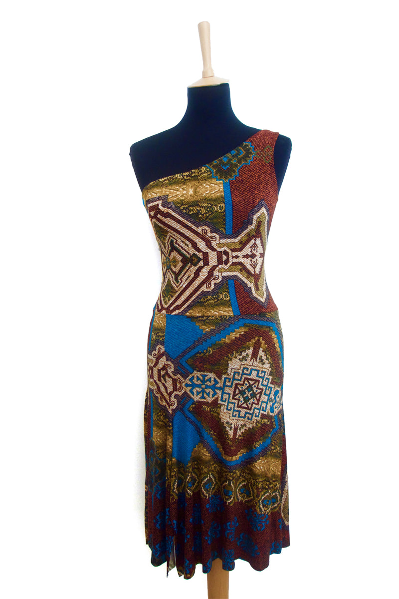 conDiva Aztec-print One-shoulder Tango Dress