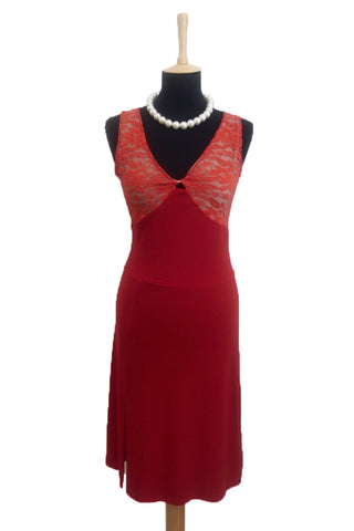 conDiva red argentine tango dress with lace.