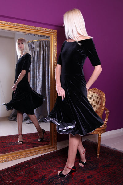 conDiva black velvet fit-and-flare tango dress