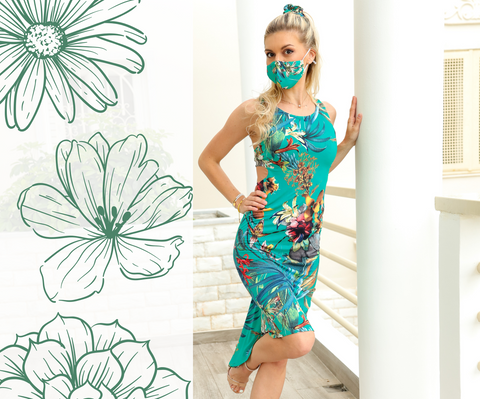 Green Tropical Print Fishtail Tango Dress