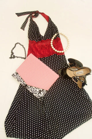 Black and white polka dot tango dress with lace waist and halter neck tie.