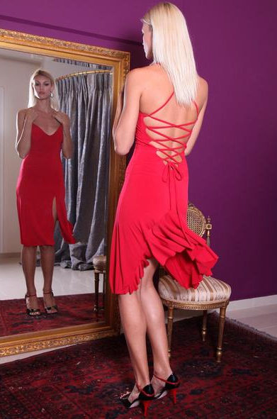 tango dress with back ruffles by conDiva