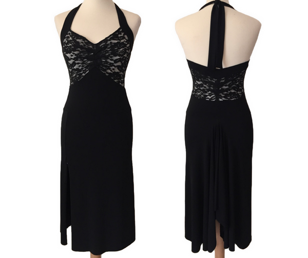 black tango dress with lace