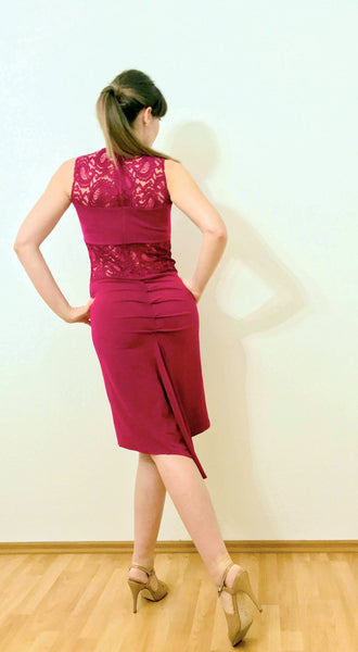 fuchsia fishtail tango dress