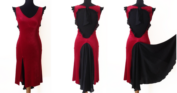 red tango dress by conDiva, velvet with sating fishtail