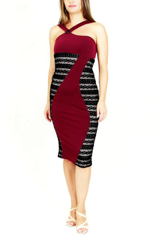 Tango dress with lace sides - burgundy