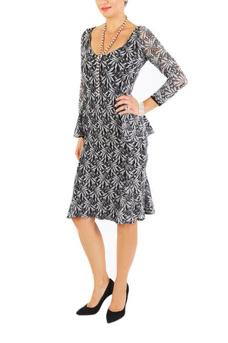 Gray Floral Lace Fitted Dress with Long Sleeves