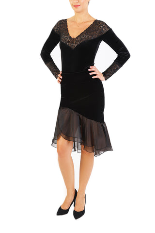 Black Velvet Tango Skirt with Organza Ruffles