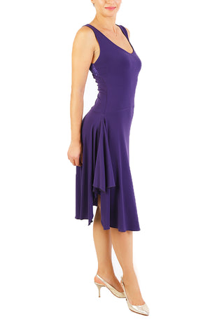 Purple Tango Dress with Right Side Draping