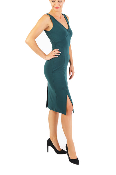Tango Dress with Bow Style Back - Forest Green