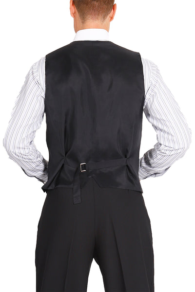 Men's Plain Black Tango Vest With Satin Back