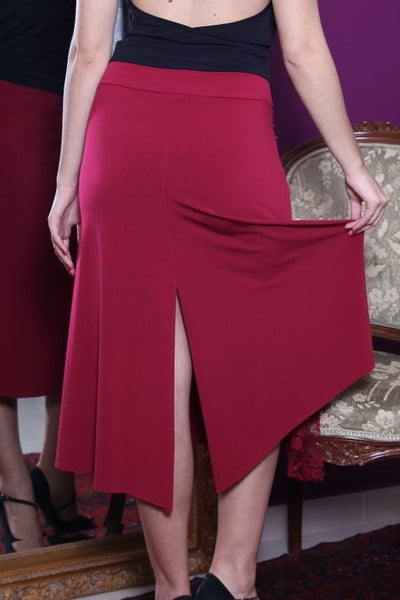 conDiva Burgundy Tango Skirt with Left-side Lace Details