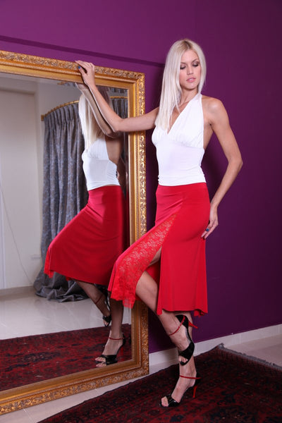 conDiva Red Tango Skirt with Left-side Lace Details