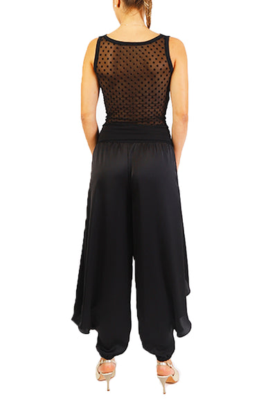 Black Satin Tango Pants For Milonga