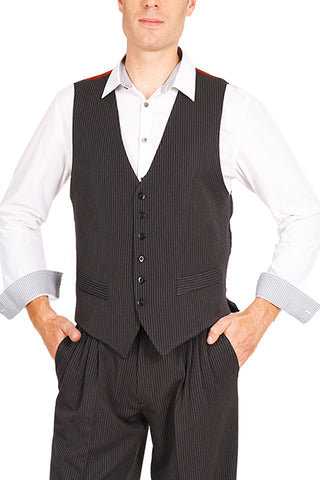 Men's Thin Striped Black Tango Vest With Satin Back