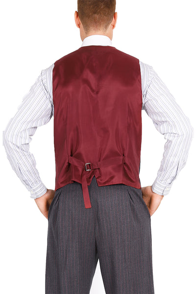 Men's Striped GrayTango Vest With Satin Back