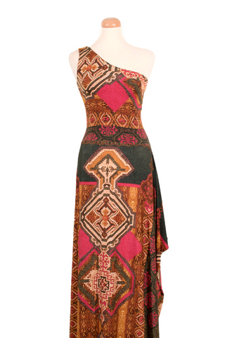 Aztec-print One Shoulder Maxi Dress