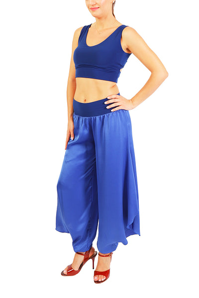 Electric Blue Satin Tango Pants For Milonga