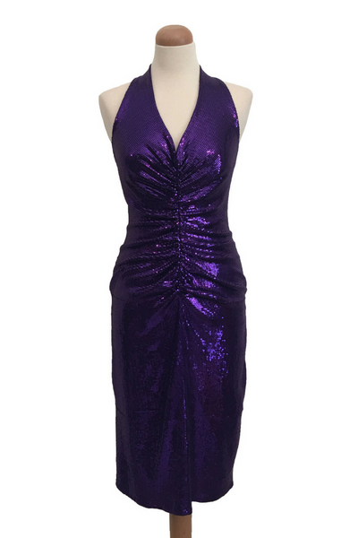 All Ruched Sequined Tango Dress -Purple