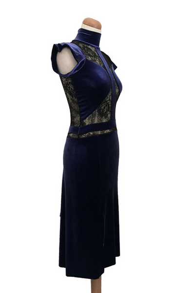 Electric Blue Velvet Tango Dress with Lace Details
