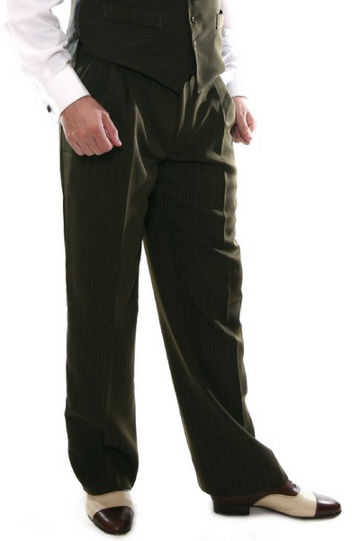 Men's tango pants in olive green with regular thin green stripes